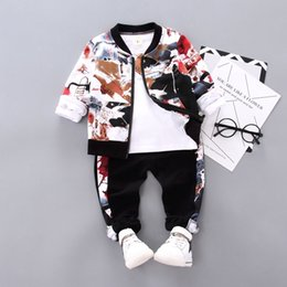 boys painted shirts 2020 - New Spring Autumn Children Boys Clothes Kids Ink painting Clothing Suit Jacket T Shirt Pants 3pcs Sets Infant Cotton Tra