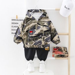 baby camo clothes 2021 - Kid Boy Clothes Camouflage Baby Suit Hooded Camo Top Pants Sport Children Kids Outwear Baby Gifts for Newborn Boys Green