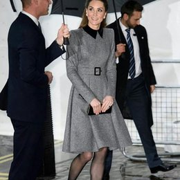 princess kate dresses Australia - New Autumn Princess Kate Strap Long Sleeves Elegant Fine Temperament Dress Medium Length Women's Clothes of High Quality Fashion 8lmw