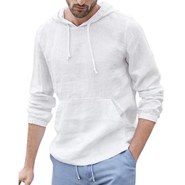 Wholesale linen shirts man resale online - Womail men shirts long sleeve New Arrivals Mens Baggy Cotton Linen Shirt Pocket Hooded Long Sleeve Retro Shirts Tops
