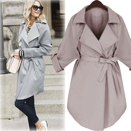 Wholesale pink trench for sale - Group buy Women Windbreaker Long Wind Coat Female Loose Elegant Trench Notched Lapel Pink Grey Black Trench Dust Women Casual Coat MK
