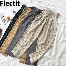 Wholesale paperbag pants resale online - Flectit Women s Plaid Lace Up with Pocket Paperbag High Waist Ankle Pants Spring Summer Female Trousers