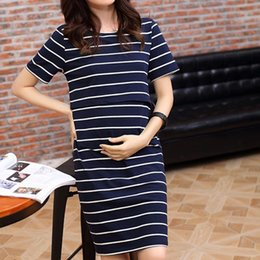 Discount pregnant lady women dresses Women O-Neck Pregnant Nursing Dress Maternity Dress Short Sleeve Stripe Summer Breastfeeding Dresses Cotton Lady Clothes