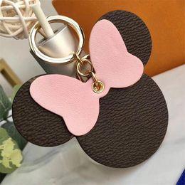 Plaid Mouse Designer Bow Schlüsselanhänger PU-Leder Tier Tasche Anhänger Charme Mädchen Autos Schlüsselanhänger Kettenhalter Für Frauen Schlüssel Ringe im Angebot