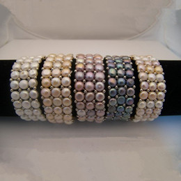 Handmade Biżuteria Elastyczne Stretch Bransoletki Trzy Rzędy Naturalne Słodkowodne Kultury Pearl Bead Stretch Bransoletka 5 sztuk