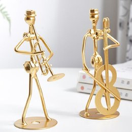 small musical instruments 2021 - Creative Wrought Iron Musical Instrument Musician Light Luxury Led Letters Home Decoration Table Top Nordic Small Ornaments