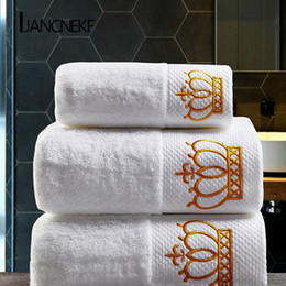 adult bath towel sets 2021 - Crown Embroidered White Cotton Hotel Towel Set Towel Absorbent Hand Adult Bath