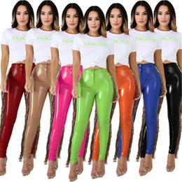 Wholesale sequin trousers resale online – Ladies PU Leather Pant Fashion Trend Christmas High Elasticity Splicing Sequins Trousers Designer Winter Female New Fleece Tassel Slim Pants
