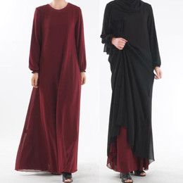 Wholesale abaya long dress resale online - Loose Muslim Dress Women Hijab Abaya Turkey Moroccan Black Red Blue Dubai Long Maxi Kaftan Dress Turkish Islamic Clothes1