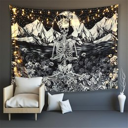ingrosso crani del gatto-Skull King Meditating in Flowers Moon Tapestry Mandala Tappeto Hippie Divinazione Tarot Cat Ouija Witchcraft Wall Wall Coperta