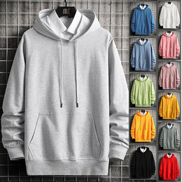Wholesale grey hoodie online – oversize Mens Hooded Hoodies Cotton Swearshirts Male Big Pocket Fashion Pure Hoodie Tracksuits Hip Hop O neck Pullover Grey Clothes