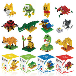 toy moose UK - Kids Toy Mini Building Blocks Micro Bricks Eagle Moose Dog Cat Bird Animals 3D Model Bag Gifts Educational Toys For Children