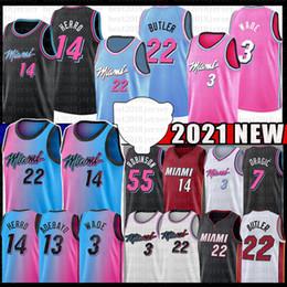Toptan satış Bam 13 Jimmy Tyler 22 Butler 14 Herro Adebayo 2021 Basketbol Forması 55 Dwayne Dwyane 3 Wade Goran 7 55 Duncan Dragic Kendrick Robinson Nunn