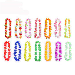лей оптовых-Новая партия поставляет Silk Hawaiian Flower Lei Garland Hawaii Write Weath Cheerleading Products Hawaii Ожерелье DHE3427