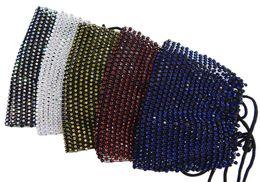 US-Großhandel Mode Net Gesichtsmaske mit Regenbogen Diamanten Multiple Farben Nicht schützende 12pc / Packung im Angebot