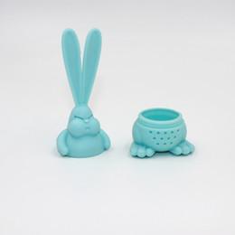 Karikatür Kızgın Tavşan Çay Demlik Gıda Sınıfı Silikon Tavşan Çay Süzgeci Büyük Kulak Tavşan Çay Poşeti GGB3291