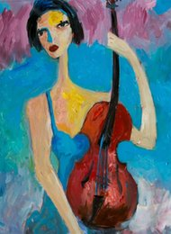 beautiful girl art paintings UK - Large beautiful young girl violin Home Decor Handpainted &HD Print Oil Painting On Canvas Wall Art Canvas Pictures , F2012017