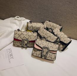 Designer kids bag girls letter printed princess messenger bag children metal chain single shoulder bag women mini handbag F7071 on Sale