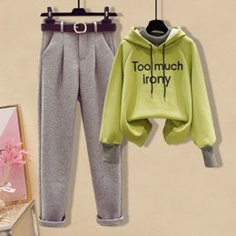Wholesale korean winter sweater suit resale online - Autumn and winter suit female students Korean version loose Plush thickened hooded fake pieces of sweater woolen casual pants two sets