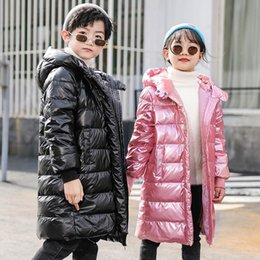 pink shiny jacket UK - OLEKID 2020 Winter Shiny Down Jacket For Boys Hooded Warm Long Children Girls Outerwear 3-12 Years Kids Teenage Coat Baby Parkas