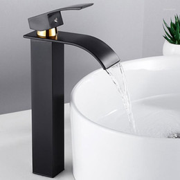 waterfall kitchen faucet UK - Basin Faucets Bathroom Sink Faucet Waterfall Mixer Water Tap Wide Spout Vessel Flowing Cold And Hot Single Handel Kitchen faucet1