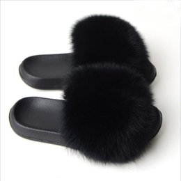 Femme fourrure moelleuse Luxe diapositives curseurs Summer Pantoufles Sandales Plates.