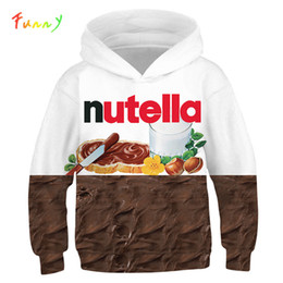 Discount pizza hoodie 3D Print Nutella Food Chicken Pizza Girls Boys Hoodies Kids Hooded Sweatshirts Clothes 2019 Fall Long Sleeve Pullovers T