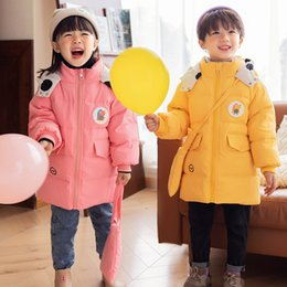 cute girl hoodie NZ - Girls Clothing Baby Coats for Boys Warm Down Jackets For Spring Autumn Kids Girls Solid Hoodie Coat Cute Warm Girls' long coat F1208