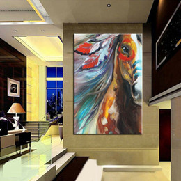 "horse paintings wall art NZ - ""Modern Animal Horse"" Framed & Unframed HOME DECOR 100% Hand-painted Animal oil painting On Canvas Wall Art Pictures ER122"