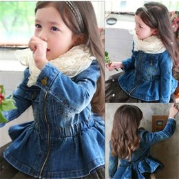 Wholesale girl short jacket jeans resale online - Teenmiro Girls Peplum Denim Jacket Kids Fashion Jeans Coat Spring Children Clothes Fashion Little Girls Outerwear Clothing Y