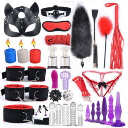 Discount adult cat masks 40cm Fox Tail Anal Plug Cat Mask Sex Products Erotic Toys for Adults BDSM Bondage Handcuffs Sex New Style Y201118