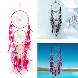 Wholesale india cloths resale online - Newest India Styles Large Dreamcatcher with Circles Feather Handmade Dream Catcher Wall Hanging Decoration Home Decor Ornament