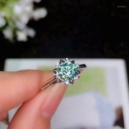 Discount blue diamond cluster ring BOEYCJR 925 Silver 1ct 2ct Blue Moissanite VVS Engagement Wedding Diamond Ring With national certificate for Women1