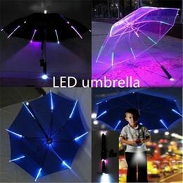 Vente en gros Parapluie cool avec des caractéristiques de LED 8 nervures transparentes transparentes avec poignée OWF3458