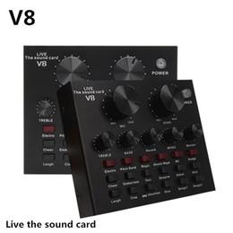 V8 Carte sonore Configuration audio Interface externe USB Live Microphone Sound Fonction Bluetooth pour ordinateur PC Téléphone mobile Sing en Solde