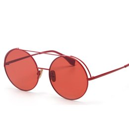 round metal eyewear 2021 - Veshion Brand Designer Women Round Sunglasses Men Fashion Vintage Metal Frame Ocean Sun Glasses Shade Red Tinted Eyewear UV400
