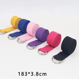 Yoga Stripes Multi-Colors D-Ring Belt Washable Sport Waist-Leg Resistance Fitness Bands Stretch Strap