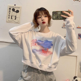 Wholesale sweatershirts women for sale - Group buy Women Hoodies Autumn Round Neck Young Girls Female Moon Cat Printed Clothes Loose Cute Women Pullover Sweatershirts Oversize1