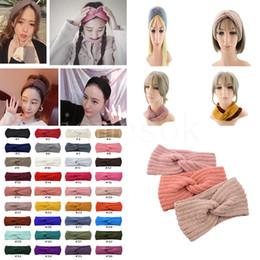 36 colors Knitted Crochet Headband Women Winter Sports Hairband Turban Yoga Head Band Ear Muffs Cap Headbands DB269 on Sale