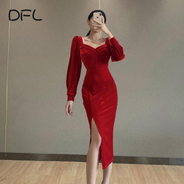 woman dress winter buttons NZ - DFLlifes Winter Women Dresses Long Sleeve Corset Sexy Clubwear Midi Spilt Dress Warm Velvet Patchwork Button Up Soild Robe 2020