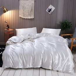 beautiful king size bedding sets 2021 - Silky Bedding Set Quilt Duvet Cover with Pillow Case Grey White Solid Color Simple Beautiful Bedclothes Queen King Size