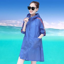 sun coat jacket 2021 - Summer Women Long Hooded Sun Protection Clothing Thin Female Loose Breathable Cardigan Jackets Zipper Pockets Windbreaker Coat
