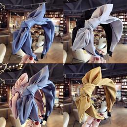 Donne Pure Color Tessuto Tessuto Fascia Lady Wide Edge Bow Fashion Hair Hoop New Pattern Pattern Versatili Accessori 6 8SM J2 in Offerta