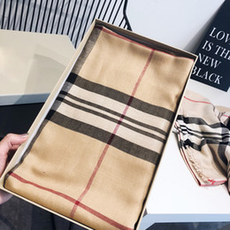Wholesale Autumn and winter check classic British Plaid Scarf Cotton Cashmere Scarf for women's shawl KLWE