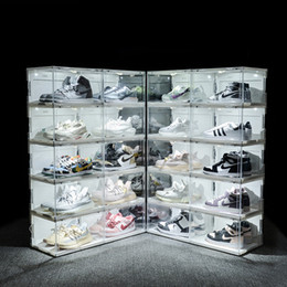 Wholesale New Sound Control LED Light clear Shoes Box Sneakers Storage Anti-oxidation Organizer Shoe Wall Collection Display Rack Y1116