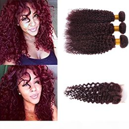 burgundy curly human hair weave NZ - Burgundy Virgin Brazilian Human Hair Weaving 3Pcs Curly Wine Red Hair Weave 99J Kinky Curl Hair Bundle curly Wave With Closure
