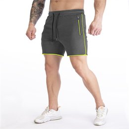 männer s jogginghosen kurz großhandel-Herren Schnelltrocknende Shorts Reißverschluss Patchwork Gerade Basketball Jogger Fitness Shorts Slim Atmungsaktive Kordelzug Casual Herren Sweatpants