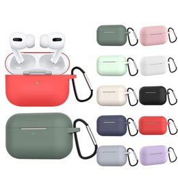 Wholesale air pod cases resale online - airpods pro case For Apple Airpods Pro Case Silicone Cover airpod case For Apple Air Pods Pro Headphone Earpods Earbuds Hook Charging Box