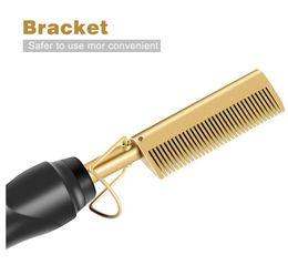 Os mais recentes pente de cabelo uso cabelo molhado e seco ferro encrespador alisador eléctrico transporte livre ambientalmente amigável liga de titânio cabelo encrespador em Promoção