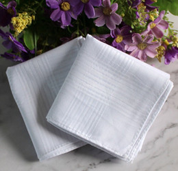 24 pçs / lote 100% algodão lenço de cetim branco mesa cor mesa de mão super macia bolso towboats quadrados 34cm em Promoção